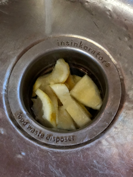 Cut up lemon peels in the garbage disposal to clean and freshen the air
