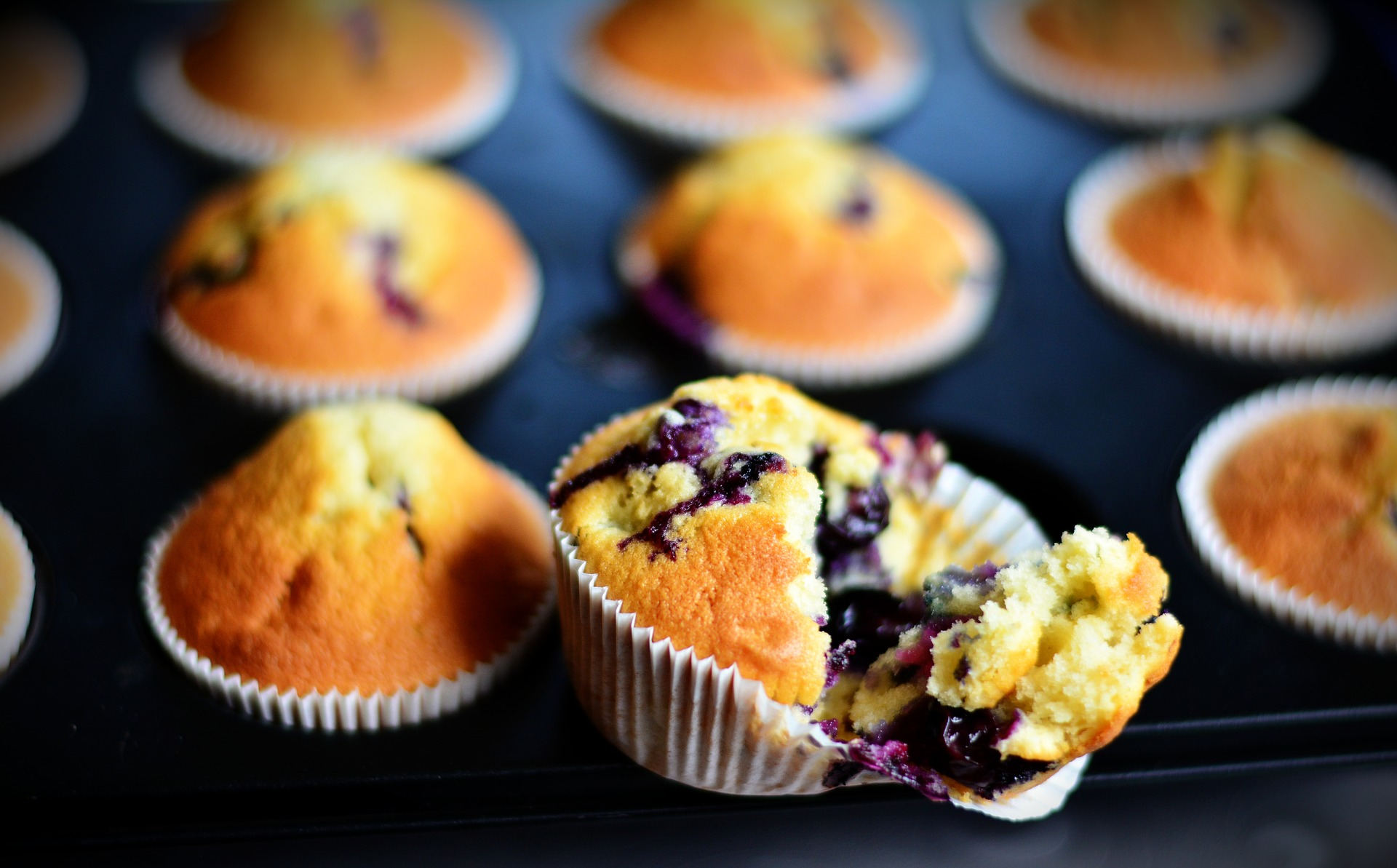 Blueberry muffins fresh from the oven in the background. One is opened to show the tasty inside.