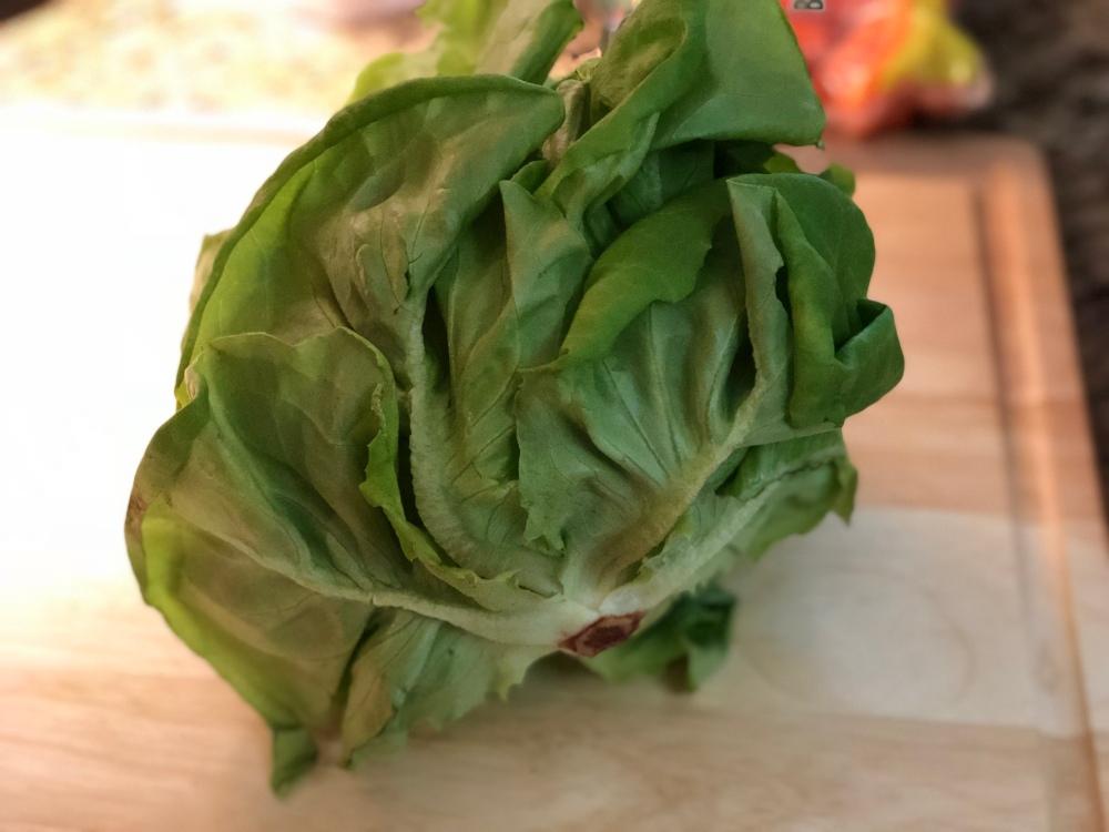Boston (Butterhead) Lettuce on cutting board